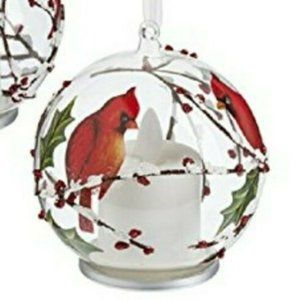 Cardinal Christmas Ornament Flickering Flame
